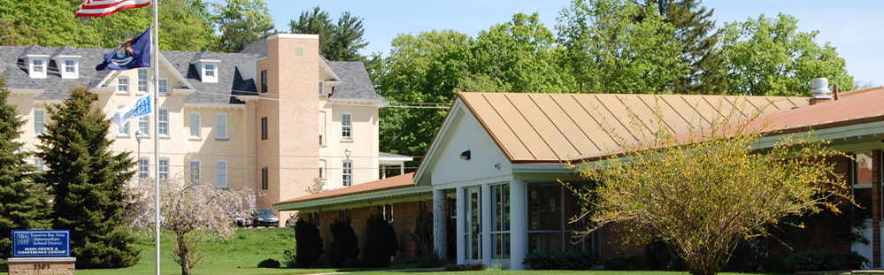 Autumn view of Traverse Bay Area Intermediate School District main administration building.