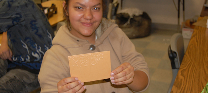 Picture of student at Life Skills Center PaperWorks