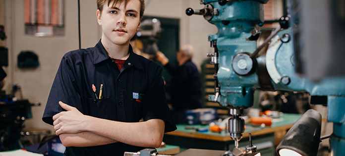 Picture of student in CTC Precision Machining Technology Program