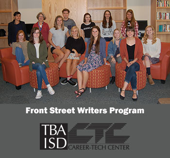 12 students and two instructors sit in the writing studio at the Career-Tech Center.