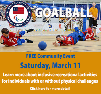 Photo of USA Paralympic Men's Goalball players in action on the court with ball out of reach. Free Community Event Saturday March 11 starting at 10:30 a.m. at Leland Public School.