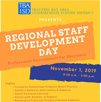 TBAISD Regional Staff Development Day is Friday, November 1. Call 231-922-6200 for more information.