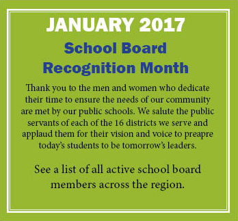 Image message says: January 2017 School Board Recognition Month. Click to see a list of all active school board members across the Traverse Bay region.