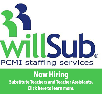 PCMI Staffing Services Logo. Now Hiring substitute teachers, teacher assistants and custodial positions. Click here to go to the PCMI website.